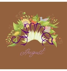 Lettering summer august with leaves flowers vector