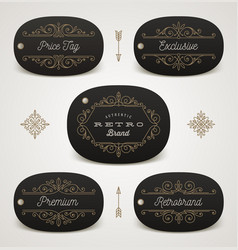 set of price tag or brand label with flourishes vector image vector image