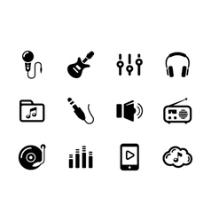 Set of sound and music black icons on white vector image vector image