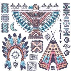 Vintage set of native American symbols vector image