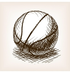 Basketball hand drawn sketch style vector image