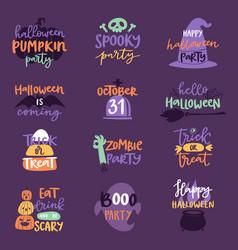 halloween day celebration invitation logo text vector image