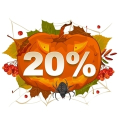 Halloween discount coupon of 20 percent Halloween vector image