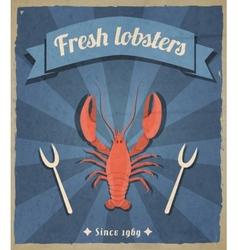 Lobster retro poster vector image