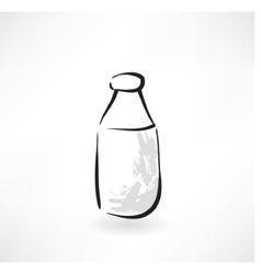milk bottle grunge icon vector image vector image