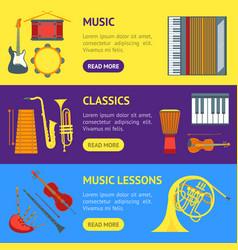cartoon musical insrtuments banner horizontal set vector image vector image