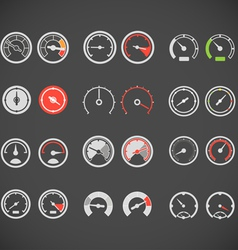 Different slyles of speedometers color collection vector image vector image
