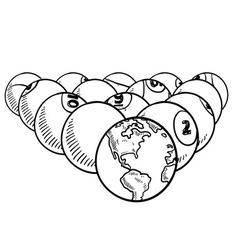 doodle billiard pool earth vector image vector image