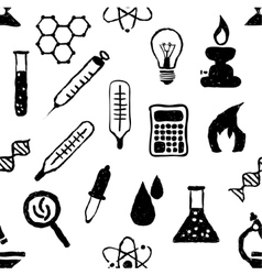 doodle seamless laboratory pattern vector image vector image