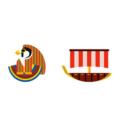 flat design egypt travel icon pharaoh head vector image vector image