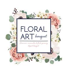 floral card design garden flower pink peach rose vector image