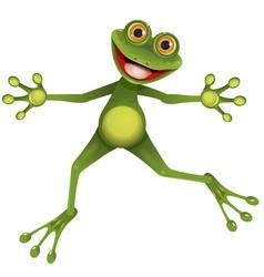happy green frog vector image vector image