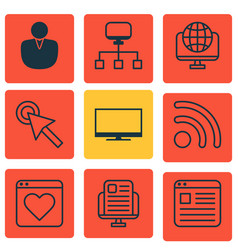 Set of 9 online connection icons includes wifi vector