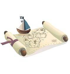 Treasure map and toy boat vector