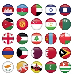Asiatic Flags Round Buttons vector image vector image