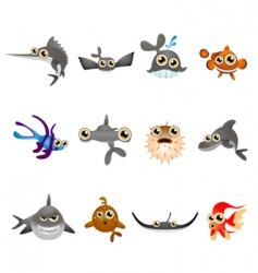 cartoon fish set vector image vector image