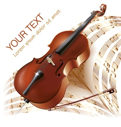 Classical cello on musical notes background vector image vector image