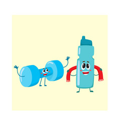 funny dumbbell and protein shaker characters with vector image vector image