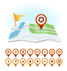 Map with markers and GPS icons vector image