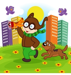 pilot boy runs with dog vector image
