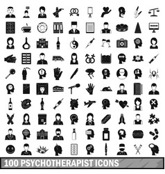 100 psychotherapist icons set simple style vector