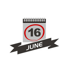 16 june calendar with ribbon vector image
