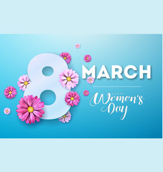 8 march happy womens day floral greeting card vector