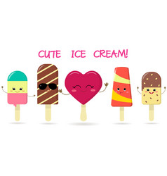 a set of five different sweet ice cream smiley on vector image