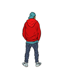 A teenage boy stands back vector