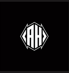 Ah logo monogram with shield shape designs vector