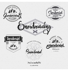 Badges Snowboard handmade designed brush lettering vector image