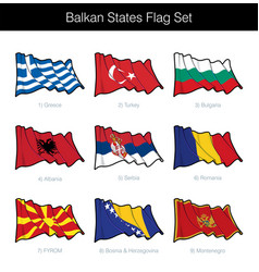 Balkan states waving flag set vector