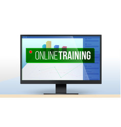 banner for online training computer monitor vector image
