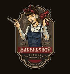 Barbershop vintage colorful logo vector