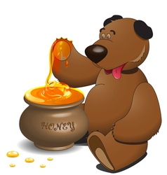Bear with pot of honey vector