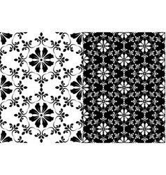 black and white floral pattern vector image