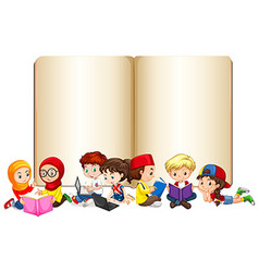 Blank book with children working and reading vector