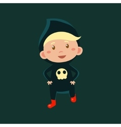 Boy In Jumpsuit With Scull Haloween Disguise vector