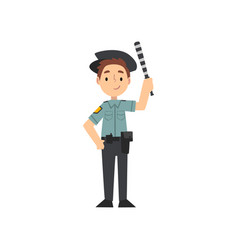 boy police officer character managing road traffic vector image
