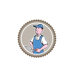 Bricklayer Mason Plasterer Rosette Cartoon vector image