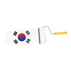 brush stroke with south korea national flag vector image