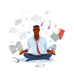 Businessman meditating to get calm flat vector
