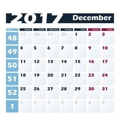 Calendar 2017 December design template vector image