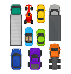 Cars and trucks top view set city and cargo vector
