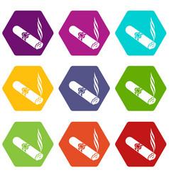 cigar icons set 9 vector image