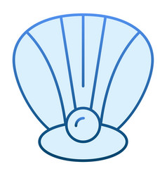 Clam flat icon perl in a shell blue icons in vector