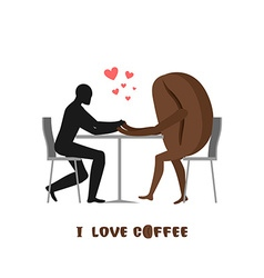 coffee lovers Lover in cafe Man and coffee beans vector image