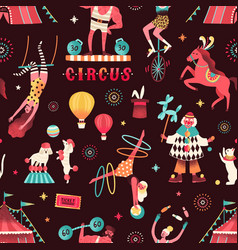 colorful circus performers demonstrate tricks vector image
