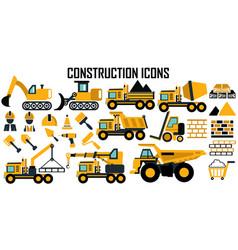 construction icons mono symbol vector image