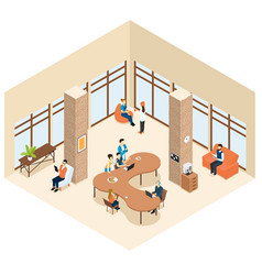 Coworking isometric center interior concept vector